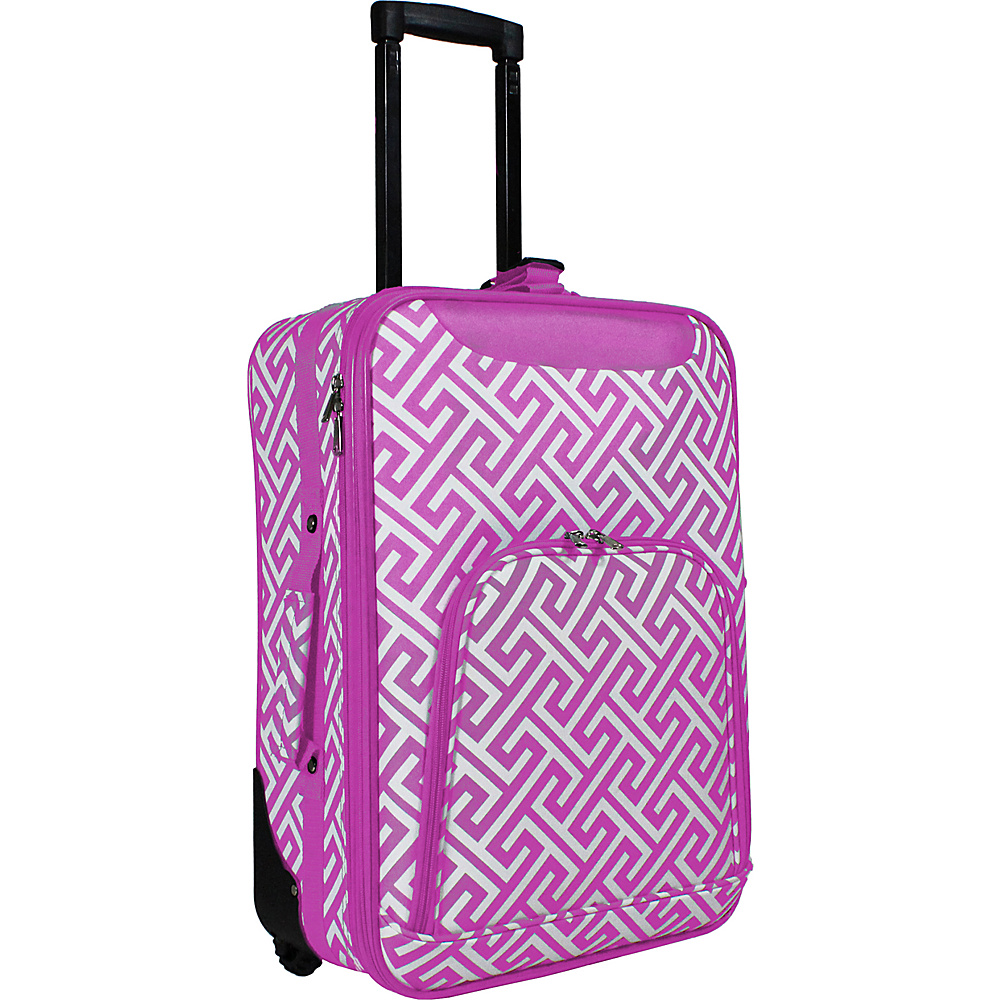 World Traveler Lightweight 20 Carry-on Rolling Suitcase Fuchsia White Chevron - World Traveler Softside Carry-On - Luggage, Softside Carry-On