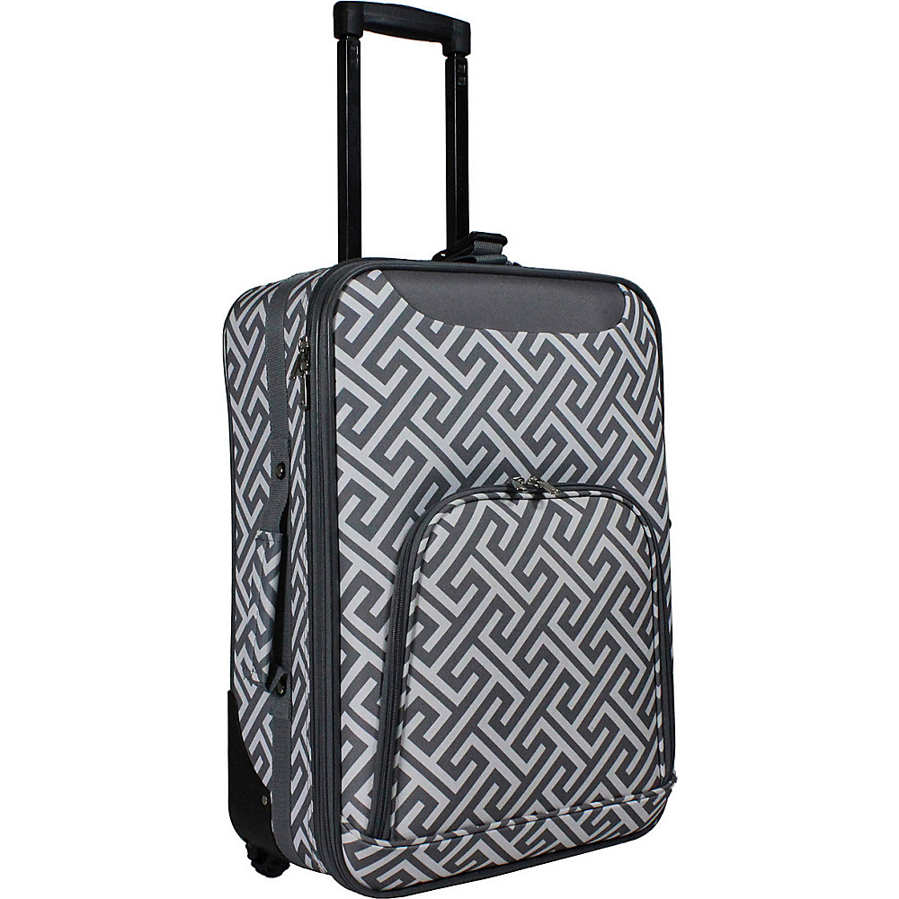 World Traveler Lightweight 20 Carry-on Rolling Suitcase Grey White Greek Key - World Traveler Softside Carry-On - Luggage, Softside Carry-On