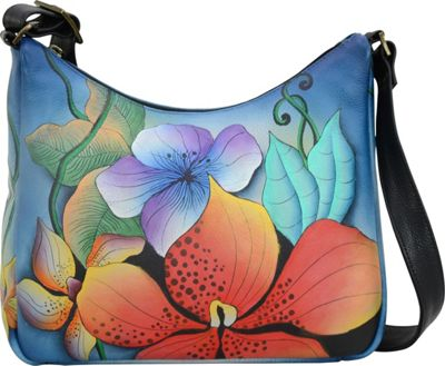 ANNA by Anuschka Hand Painted Leather Medium Shoulder Hobo Midnight Floral - ANNA by Anuschka Leather Handbags