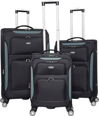 Gabbiano Glasgow 3 Piece Softside Spinner Luggage Set Black/Blue - Gabbiano Luggage Sets