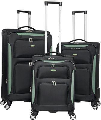 Gabbiano Glasgow 3 Piece Softside Spinner Luggage Set Black/Green - Gabbiano Luggage Sets