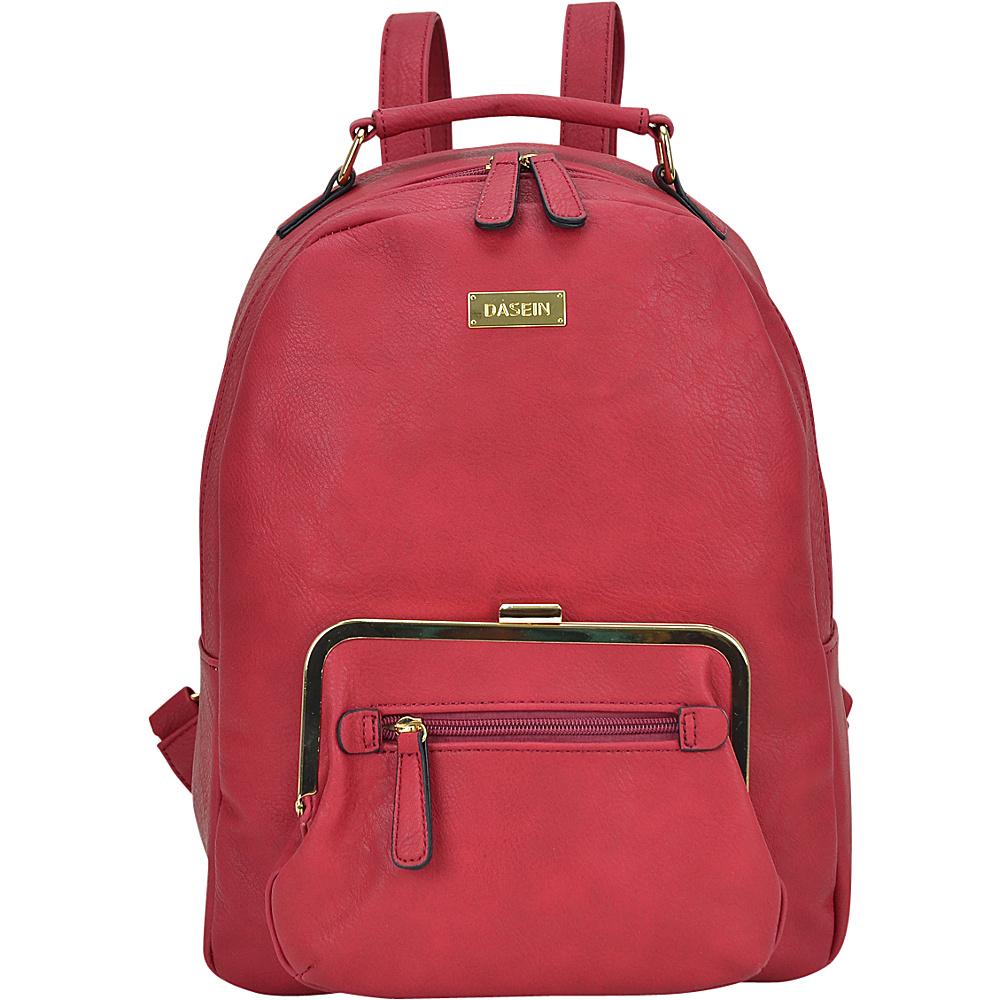 Dasein Front Twist Lock Pocket Backpack Burgundy - Dasein Manmade Handbags - Handbags, Manmade Handbags