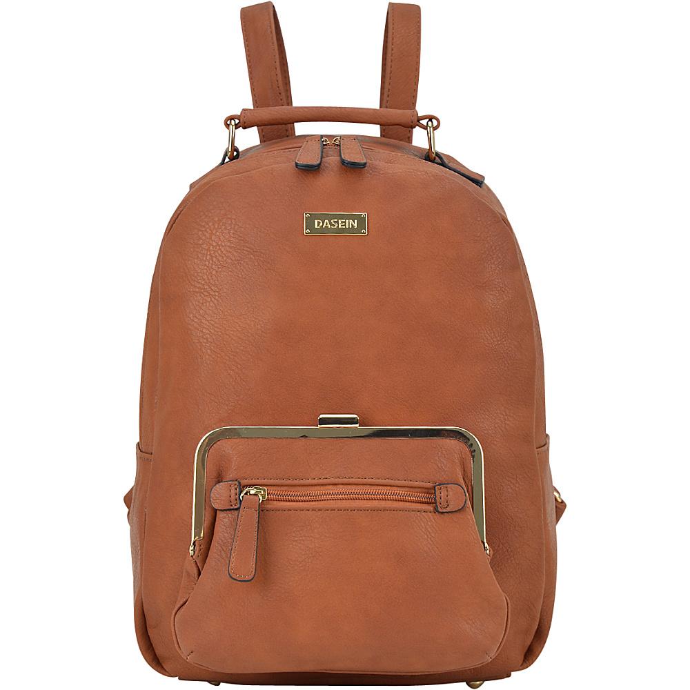 Dasein Front Twist Lock Pocket Backpack Brown - Dasein Manmade Handbags - Handbags, Manmade Handbags