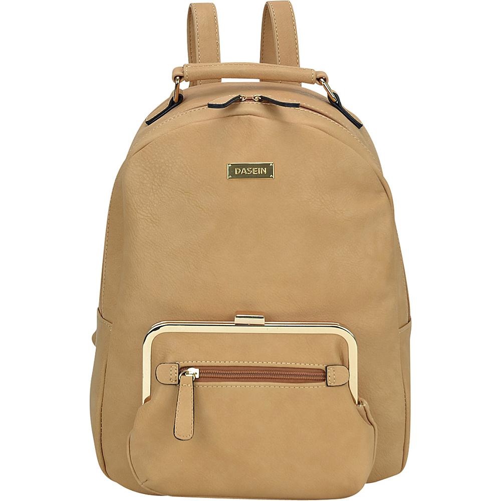 Dasein Front Twist Lock Pocket Backpack Camel - Dasein Manmade Handbags - Handbags, Manmade Handbags