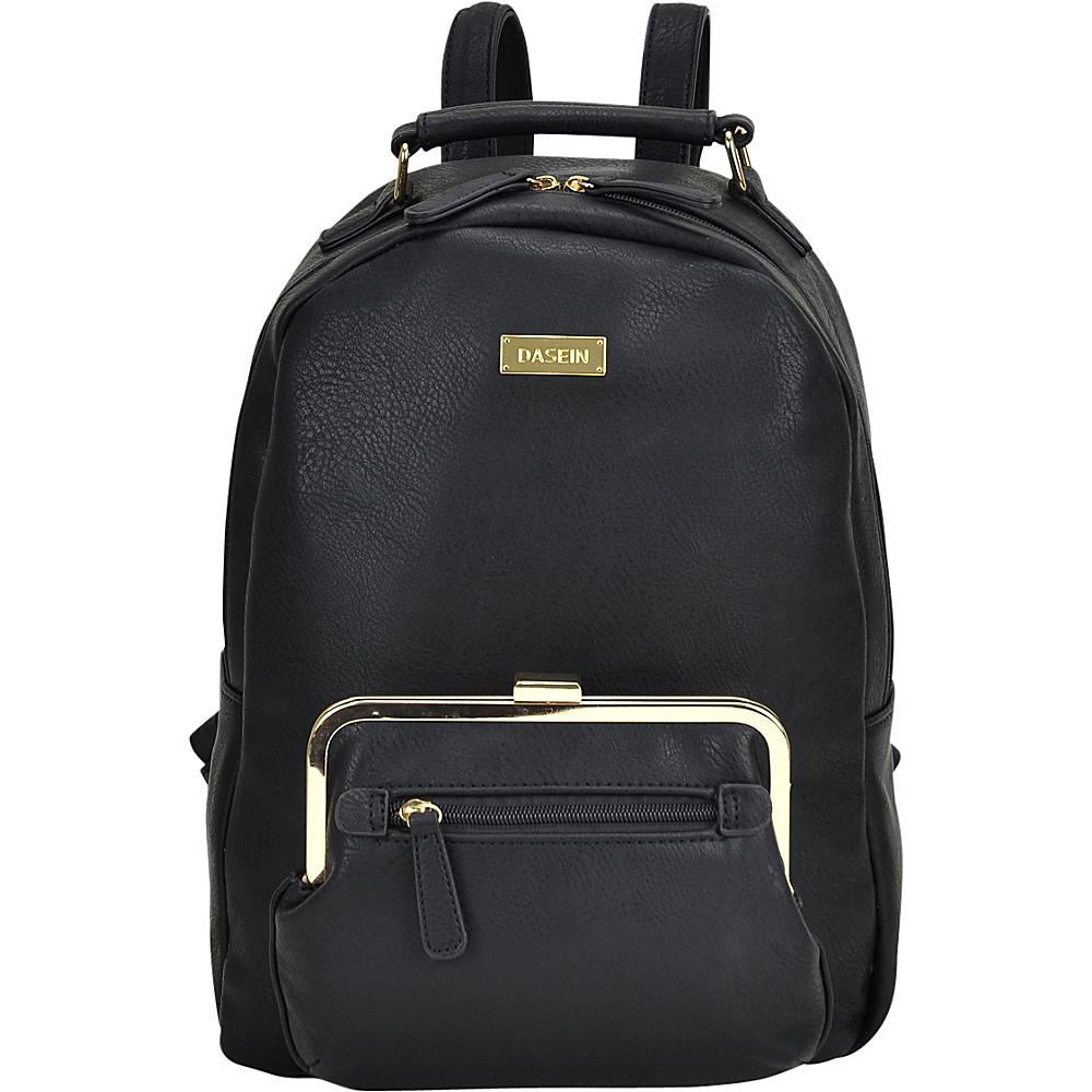 Dasein Front Twist Lock Pocket Backpack Black - Dasein Manmade Handbags - Handbags, Manmade Handbags