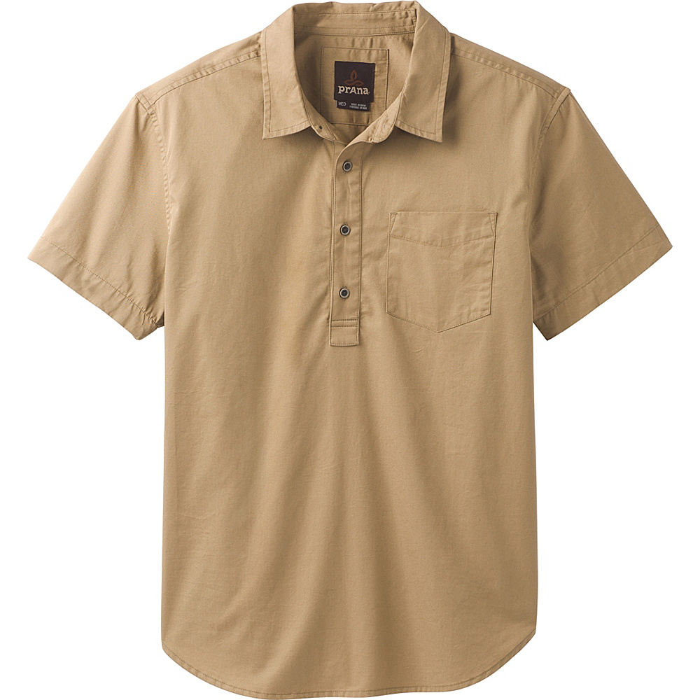 PrAna Brandt Short Sleeve Shirt XL - Dark Khaki - PrAna Mens Apparel - Apparel & Footwear, Men's Apparel