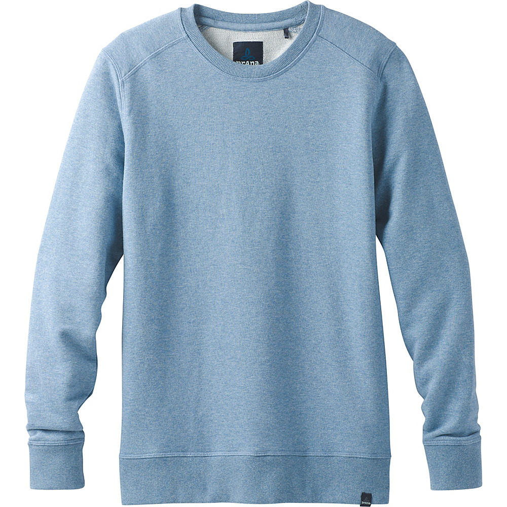 PrAna Asbury Long Sleeve Crew S - Sunbleached Blue Heather - PrAna Mens Apparel - Apparel & Footwear, Men's Apparel