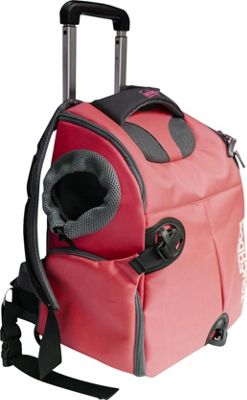 Touchdog Wuffle Duffle Wheeled Backpack Pet Carrier Red - Touchdog Pet Bags
