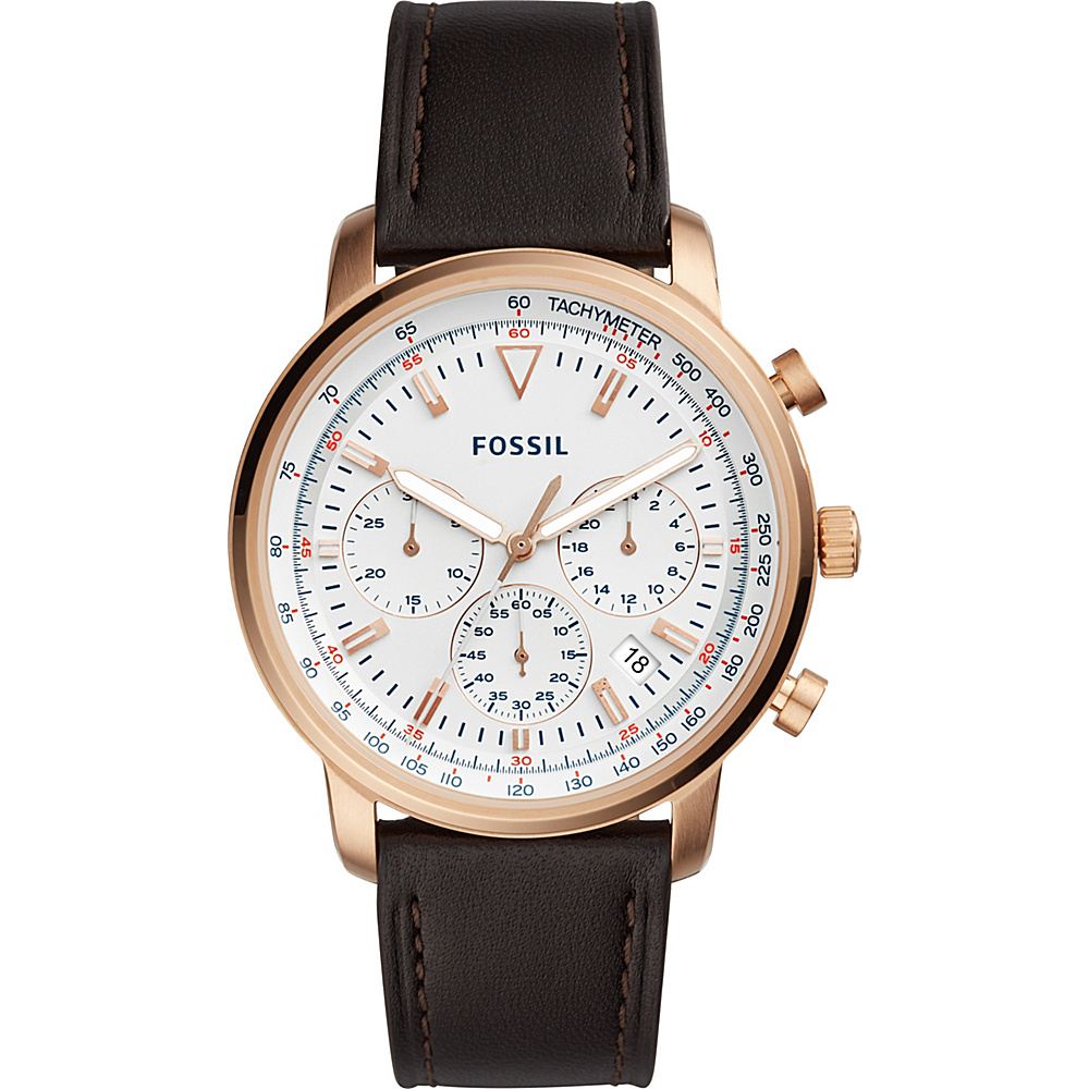 Fossil Goodwin Chronograph Brown Leather Watch Brown - Fossil Watches - Fashion Accessories, Watches