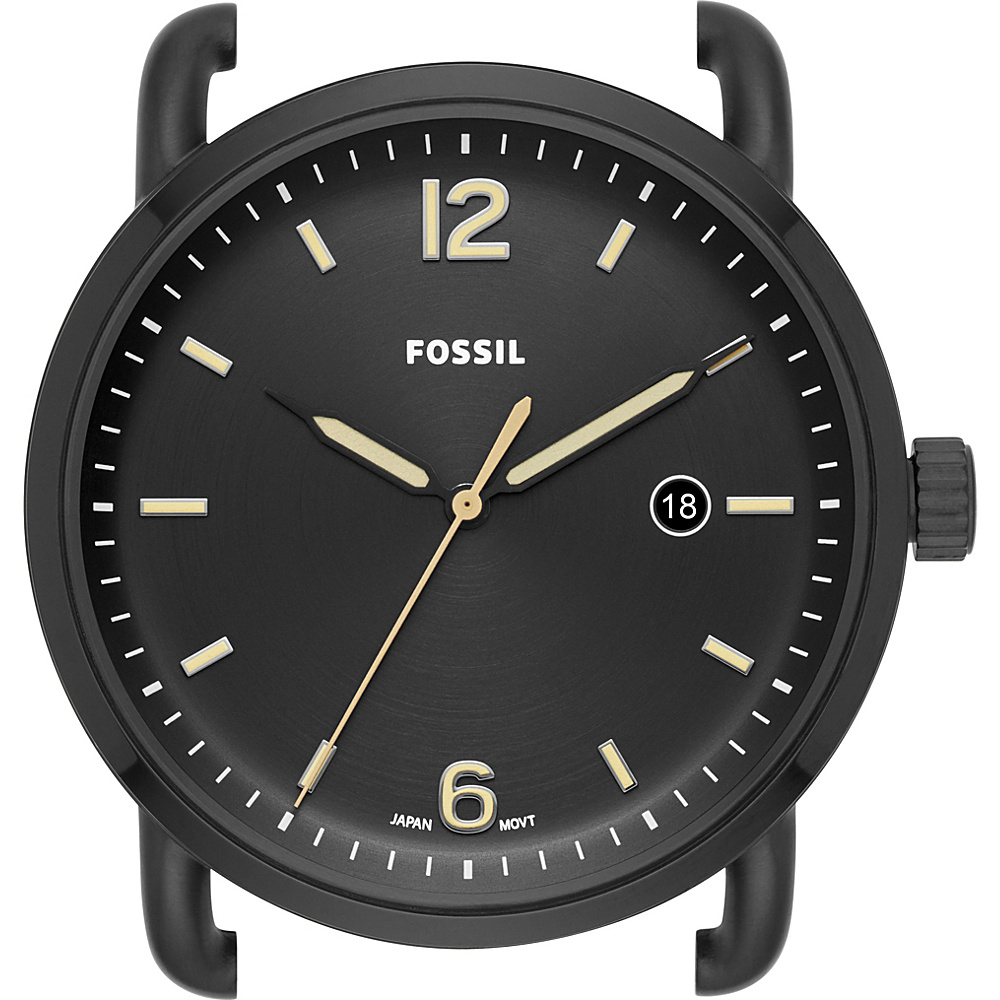 Fossil The Commuter Three-Hand Date Black Stainless Steel Watch Case Black - Fossil Watches - Fashion Accessories, Watches