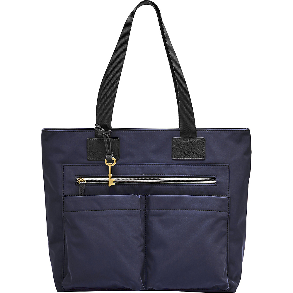 Fossil Bailey Tote Navy - Fossil Fabric Handbags - Handbags, Fabric Handbags