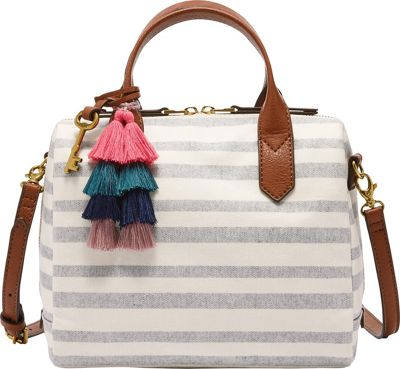 Fossil Fiona Satchel Blue Stripe - Fossil Fabric Handbags