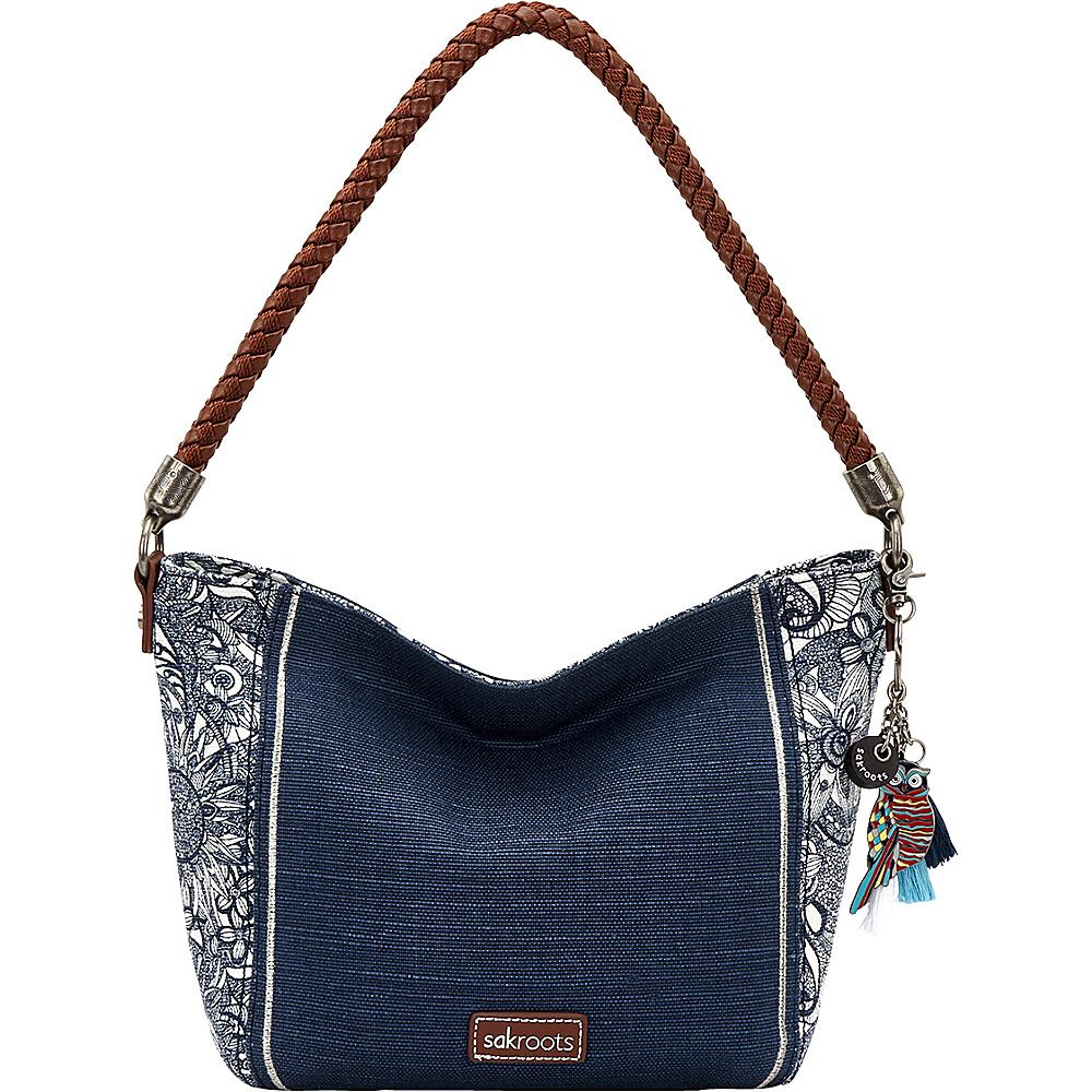 Sakroots Elsa Small Hobo Navy Spirit Desert Patch - Sakroots Fabric Handbags - Handbags, Fabric Handbags