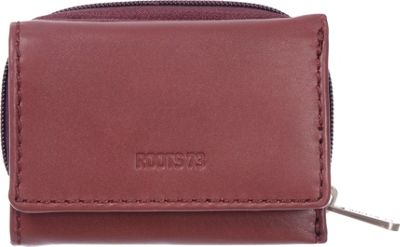 Roots 73 Trifold Leather Wallet with 3 Way Zip Red - Roots 73 Women's Wallets