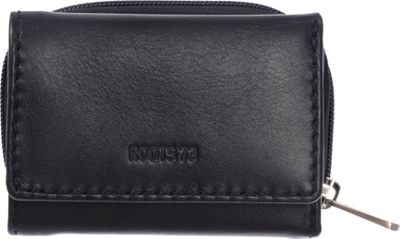 Roots 73 Trifold Leather Wallet with 3 Way Zip Black - Roots 73 Women's Wallets