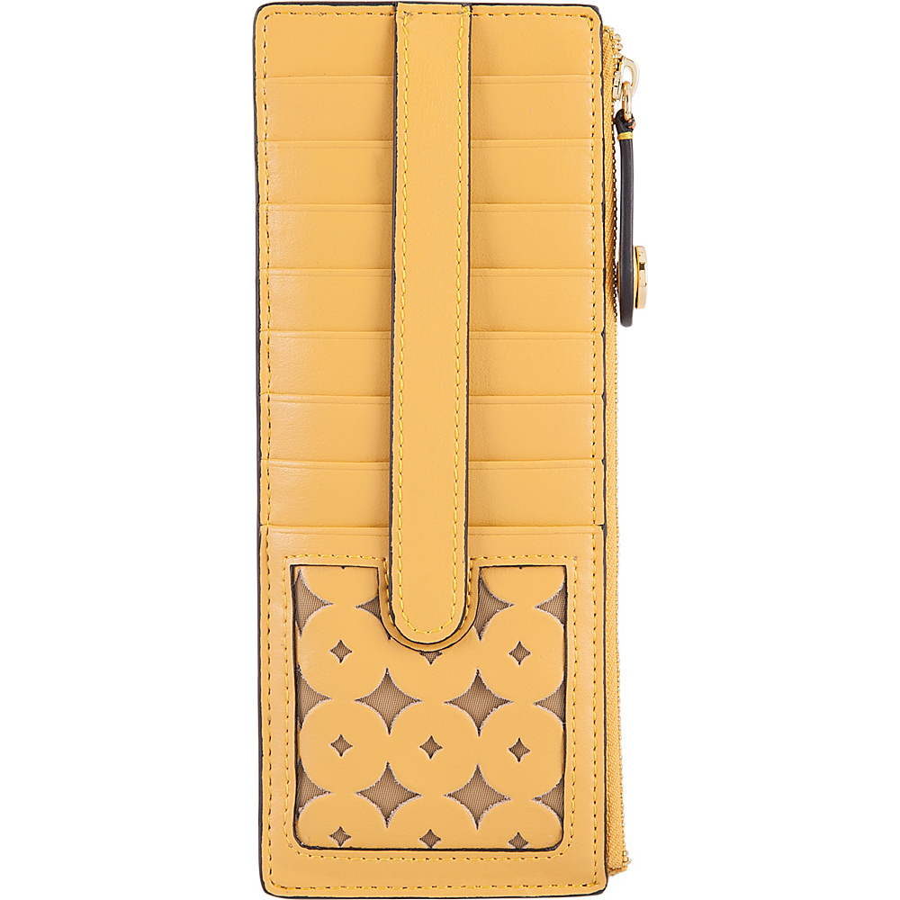 Lodis Laguna Perf RFID Credit Card Case With Zipper Pocket Yellow - Lodis Womens Wallets - Women's SLG, Women's Wallets
