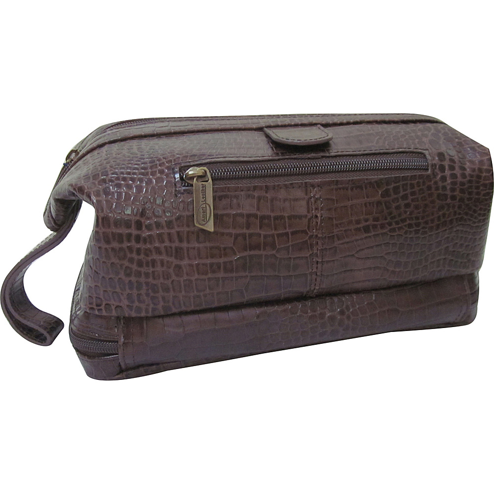 AmeriLeather Printed Leather Toiletry Bag Dark Brown Croco-Print - AmeriLeather Toiletry Kits - Travel Accessories, Toiletry Kits