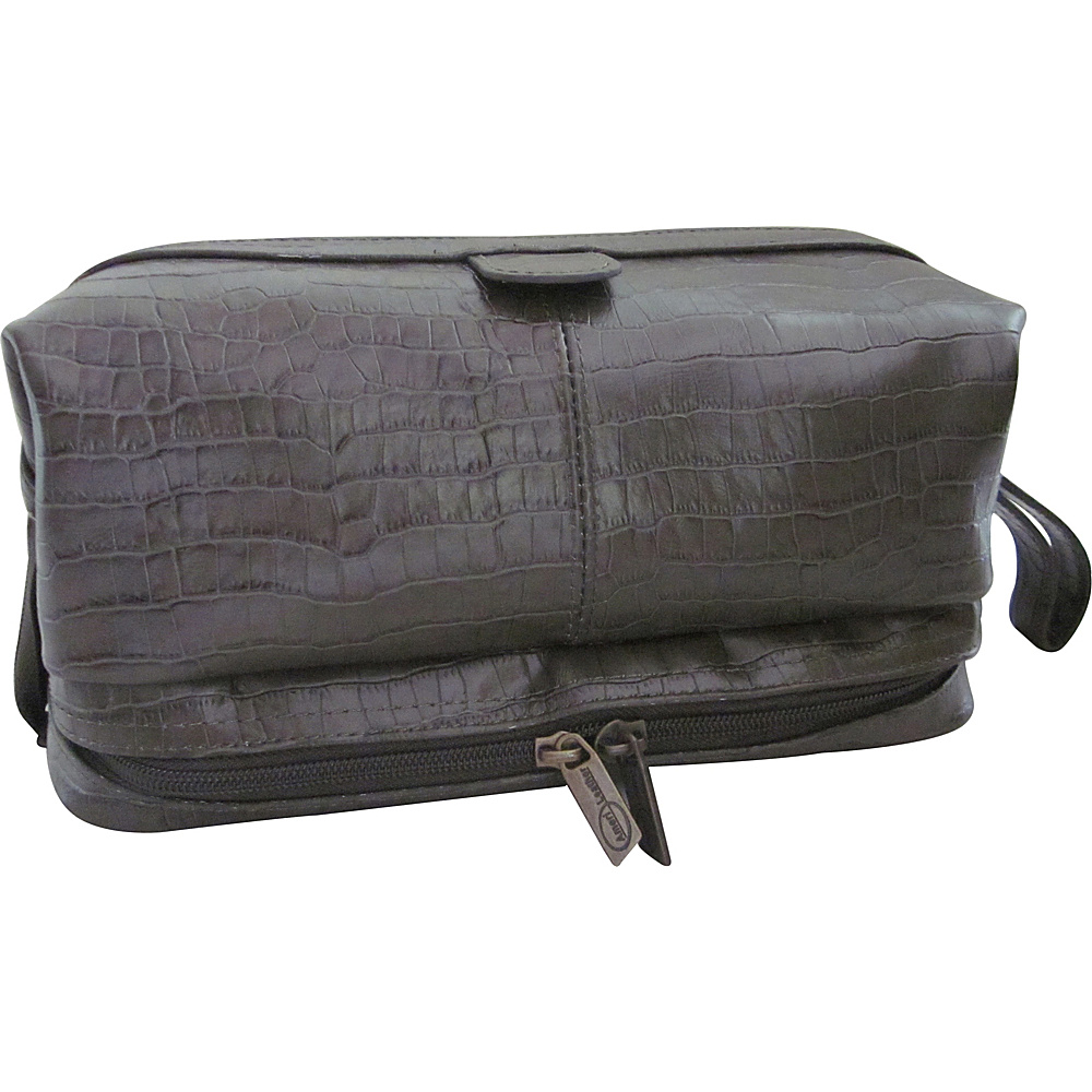 AmeriLeather Printed Leather Toiletry Bag Moss Croco-Print - AmeriLeather Toiletry Kits - Travel Accessories, Toiletry Kits