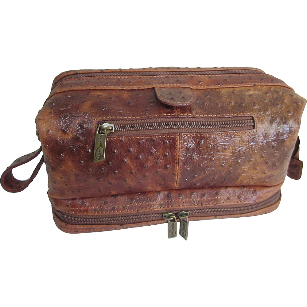AmeriLeather Printed Leather Toiletry Bag Brown Ostrich - AmeriLeather Toiletry Kits - Travel Accessories, Toiletry Kits