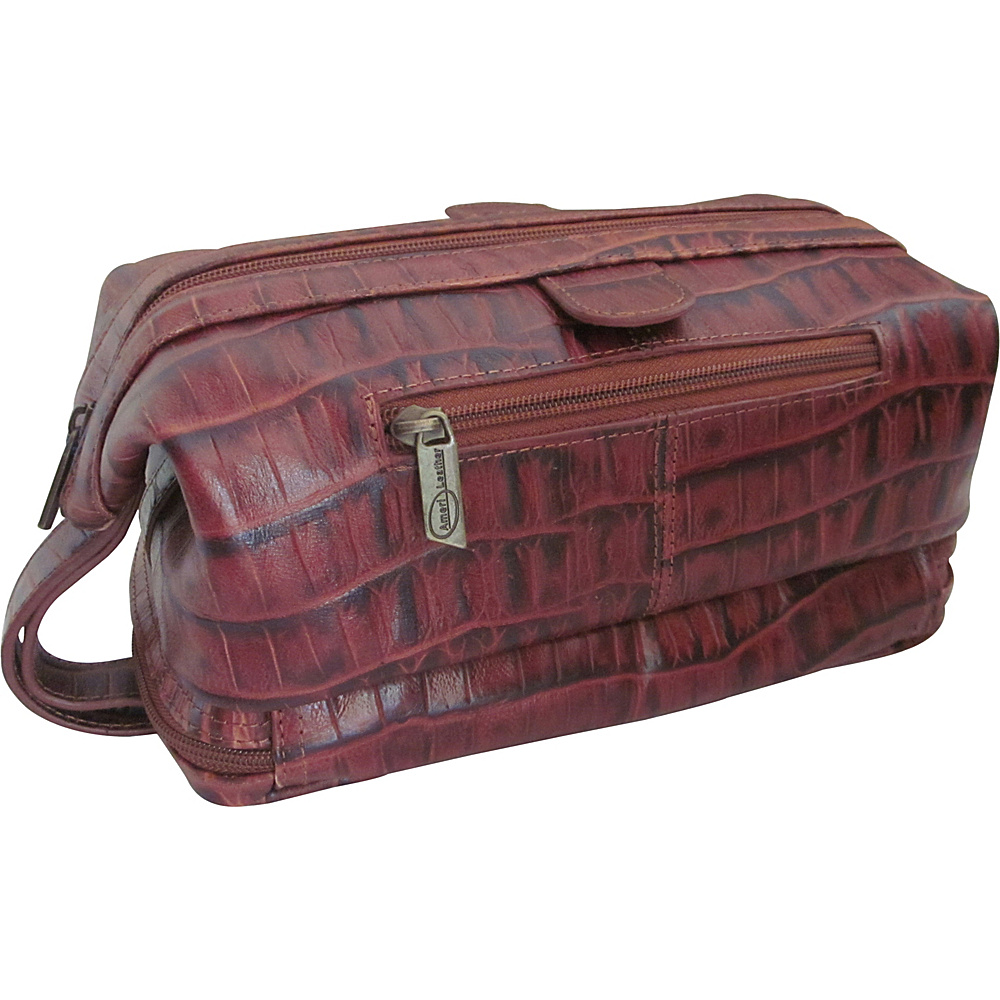 AmeriLeather Printed Leather Toiletry Bag Brown Croco Two-Tone - AmeriLeather Toiletry Kits - Travel Accessories, Toiletry Kits