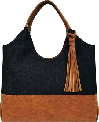 Bueno Canvas Tote Black Denim - Bueno Fabric Handbags