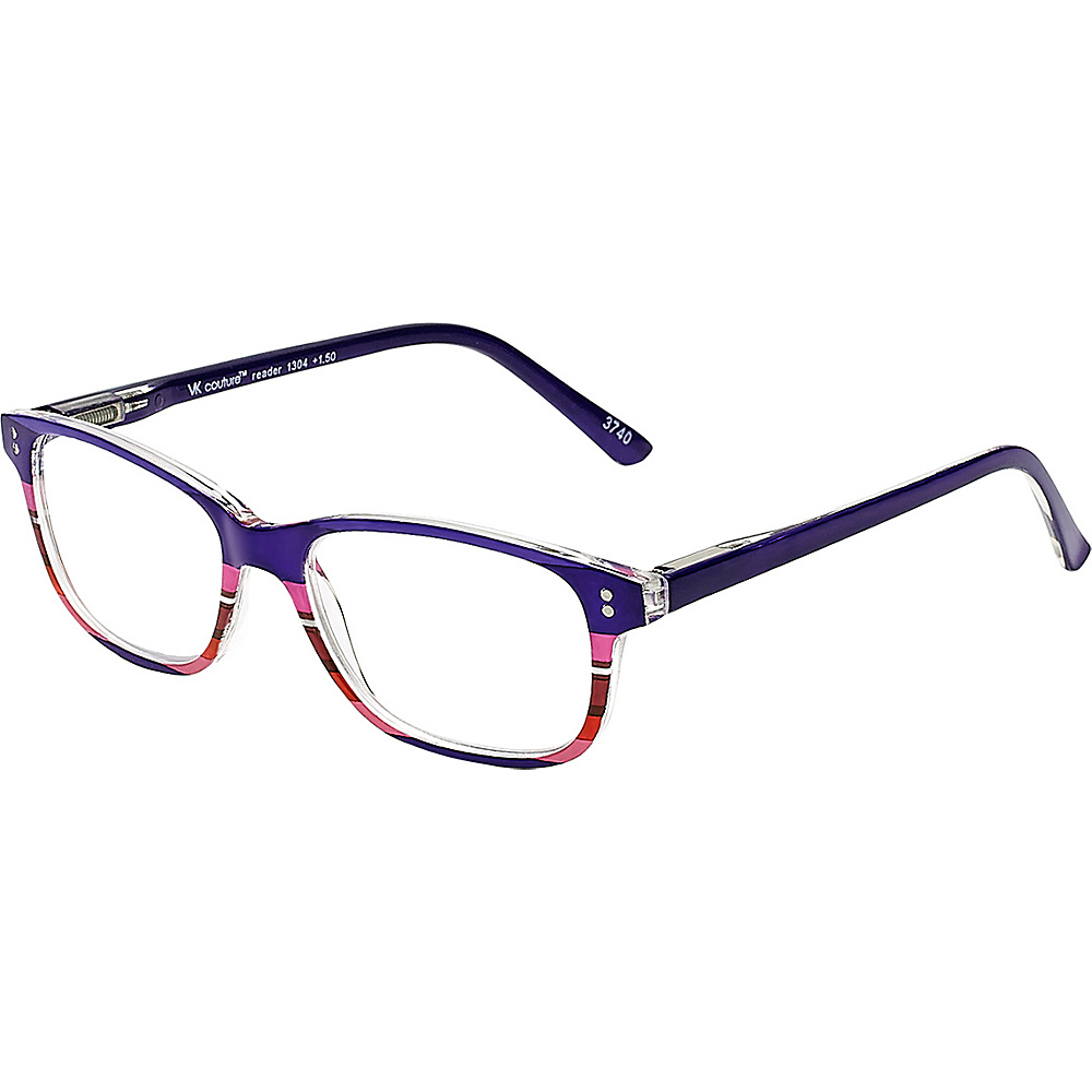 Select-A-Vision VK Couture Reading Glasses +1.50 - Purple Stripe - Select-A-Vision Sunglasses - Fashion Accessories, Sunglasses