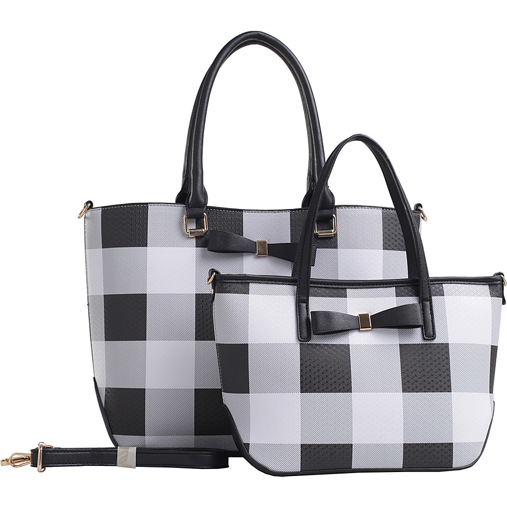 MKF Collection by Mia K. Farrow Beulah Plaid Tote Set Black - MKF Collection by Mia K. Farrow Manmade Handbags - Handbags, Manmade Handbags