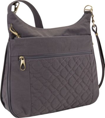 Travelon Anti-Theft Signature Quilted Expansion Crossbody Smoke/Plum Interior - Travelon Fabric Handbags
