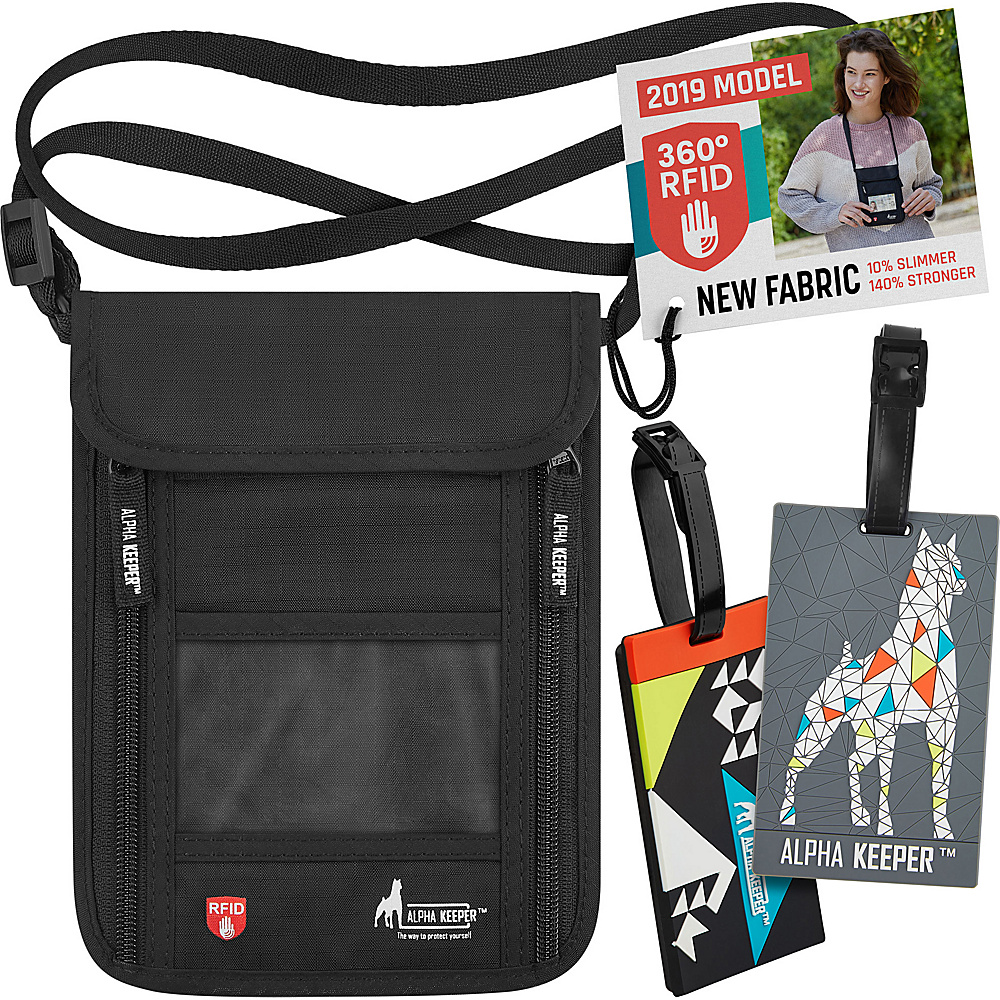 Image of Alpha Keeper RFID Neck Wallet and Two Luggage Tags Black - Alpha Keeper Travel Wallets