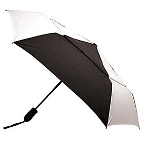 Windjammer Auto Open & Close Umbrella - Alternating Panels White/Black