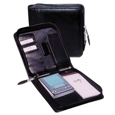 Scully Calfskin Leather Zip PDA Organizer - Black