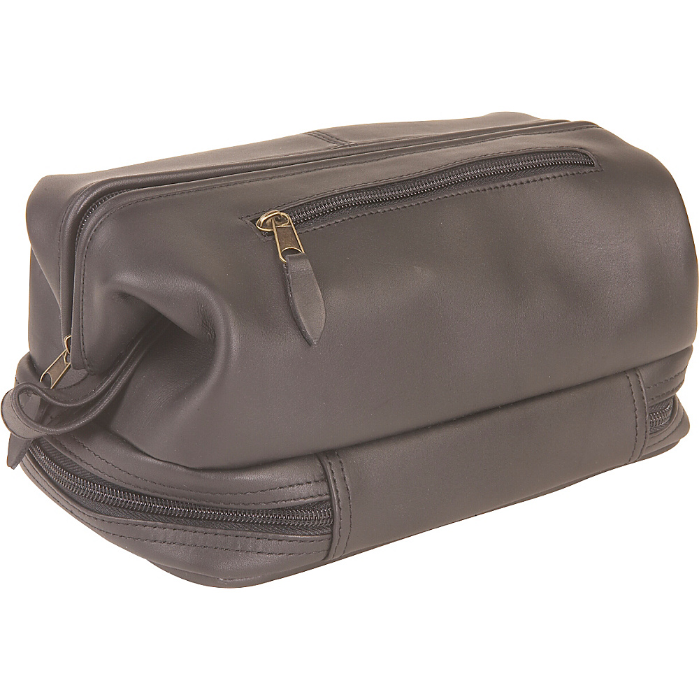 Royce Leather Toiletry Bag w/Zippered Bottom - Travel Accessories, Toiletry Kits