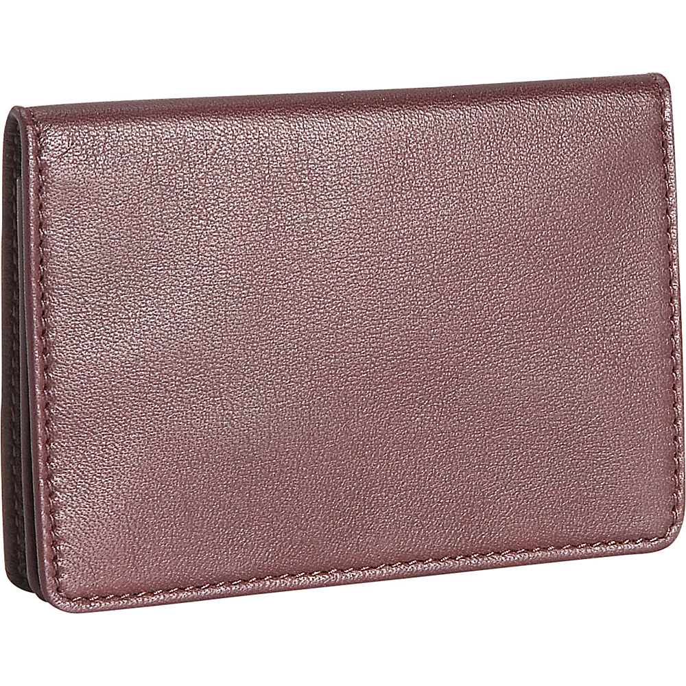 Royce Leather Mens Business Card Case - Burgundy - Work Bags & Briefcases, Business Accessories