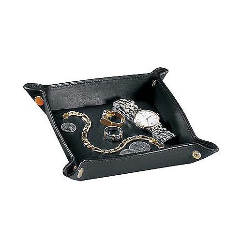Royce Leather Travel Valet Tray - Black
