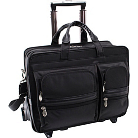 Clinton Nylon Wheeled 17'' Laptop Case  Black