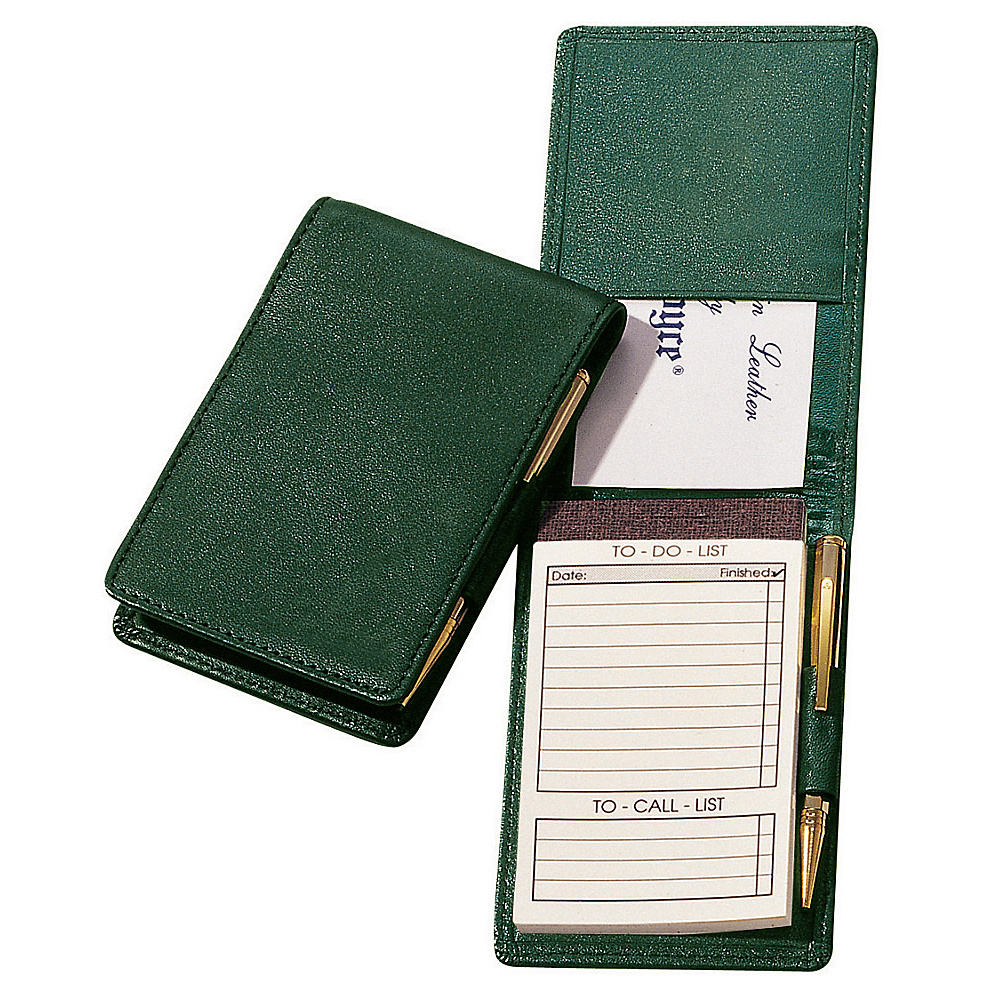Royce Leather Deluxe Flip Style Note Jotter - Green - Work Bags & Briefcases, Business Accessories