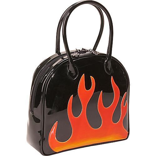 Bisadora Black Patent Flame Bag - Shoulder Bag