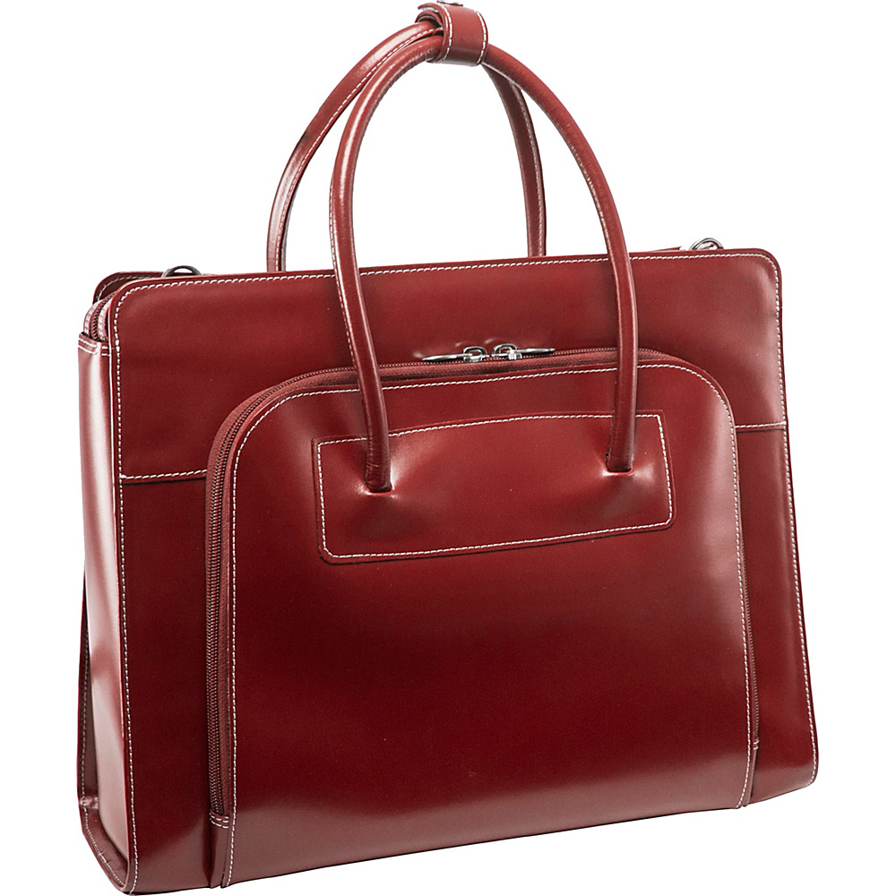 McKlein USA W Series Lake Forest Leather Womens 15 Laptop Case Red - McKlein USA Non-Wheeled Business Cases - Work Bags & Briefcases, Non-Wheeled Business Cases