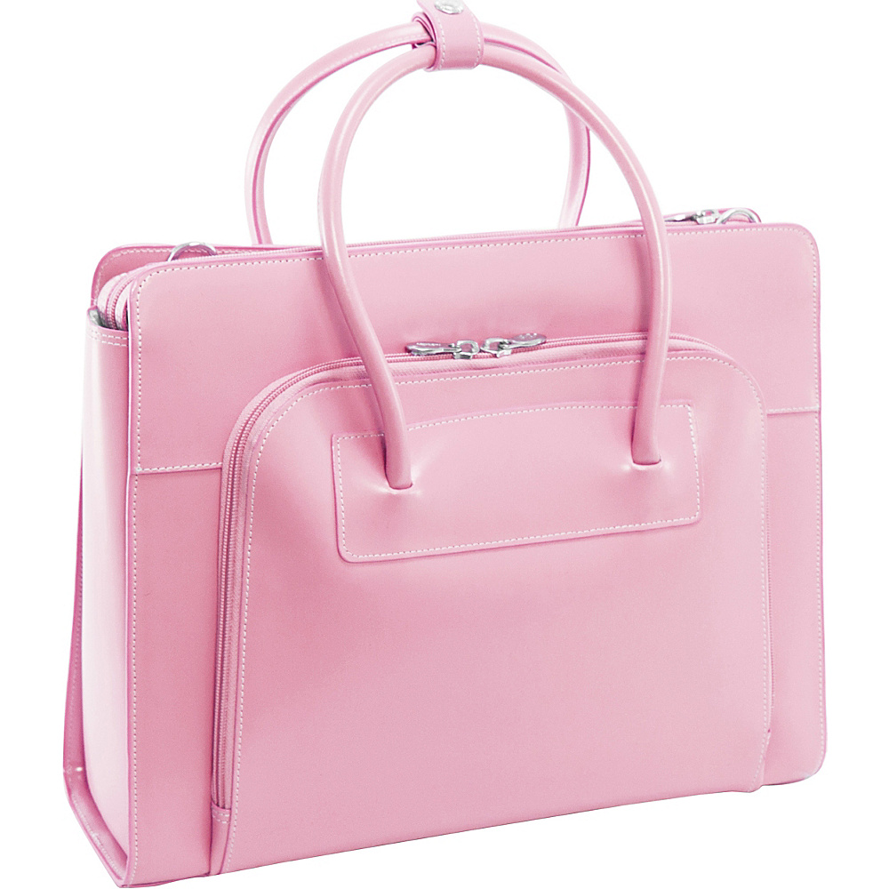 McKlein USA W Series Lake Forest Leather Womens 15 Laptop Case Pink - McKlein USA Non-Wheeled Business Cases - Work Bags & Briefcases, Non-Wheeled Business Cases