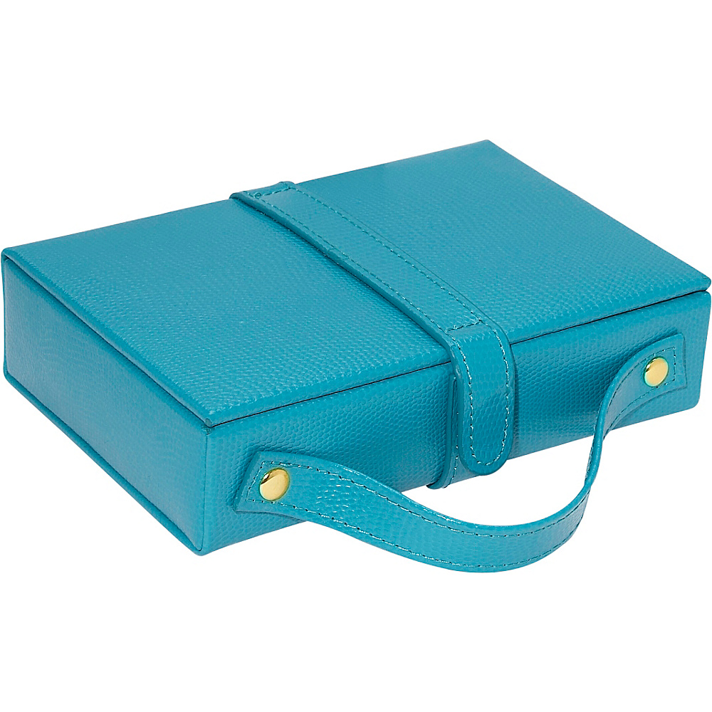 Budd Leather Travel Jewel Box with Mirror Blue