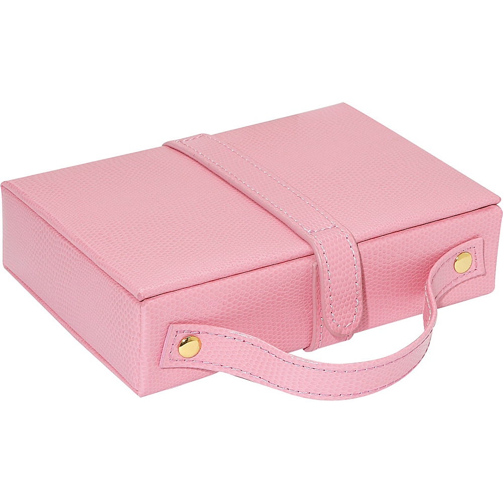 Budd Leather Travel Jewel Box with Mirror Pink Budd Leather Business Accessories