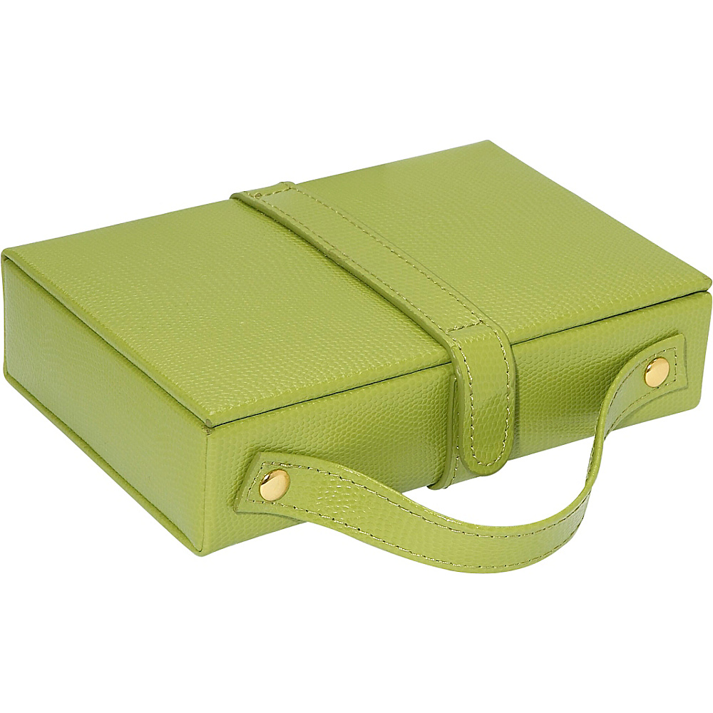 Budd Leather Travel Jewel Box with Mirror Lime Green