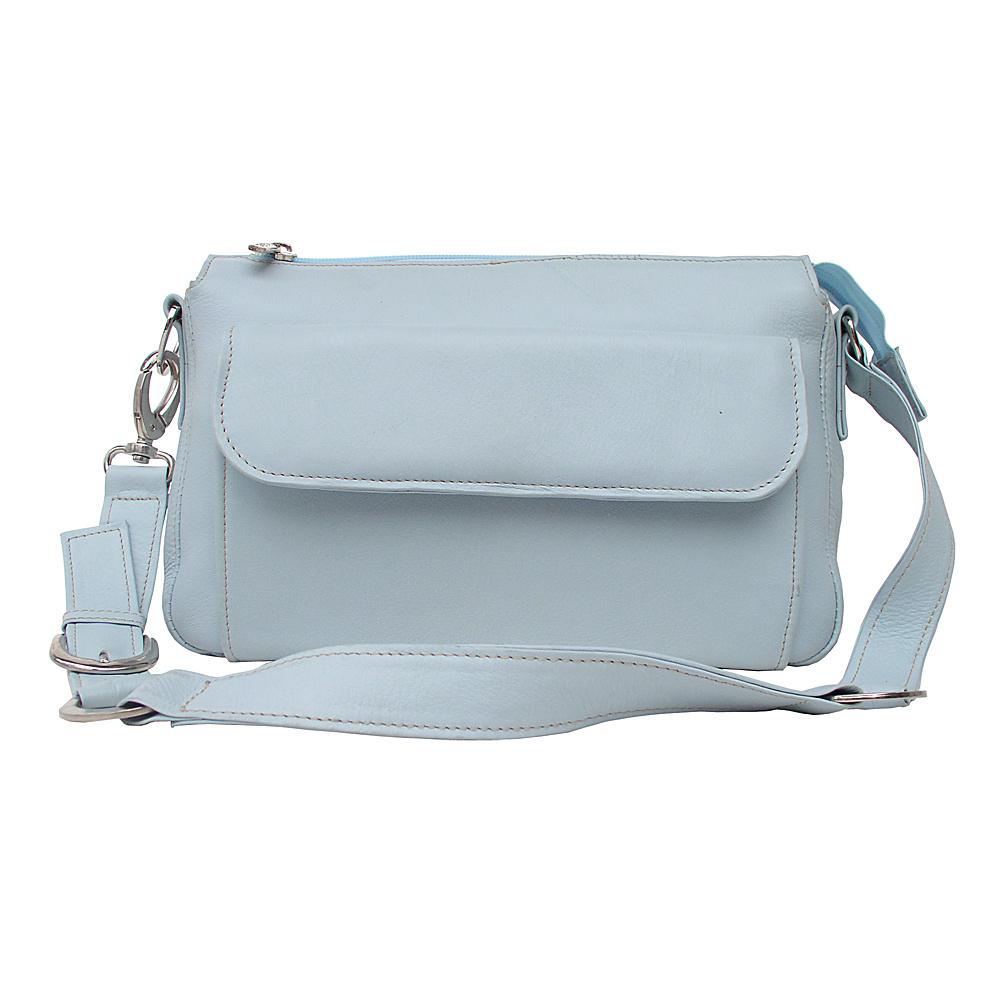 Piel Front Pocket Purse - Pastel Blue - Handbags, Leather Handbags