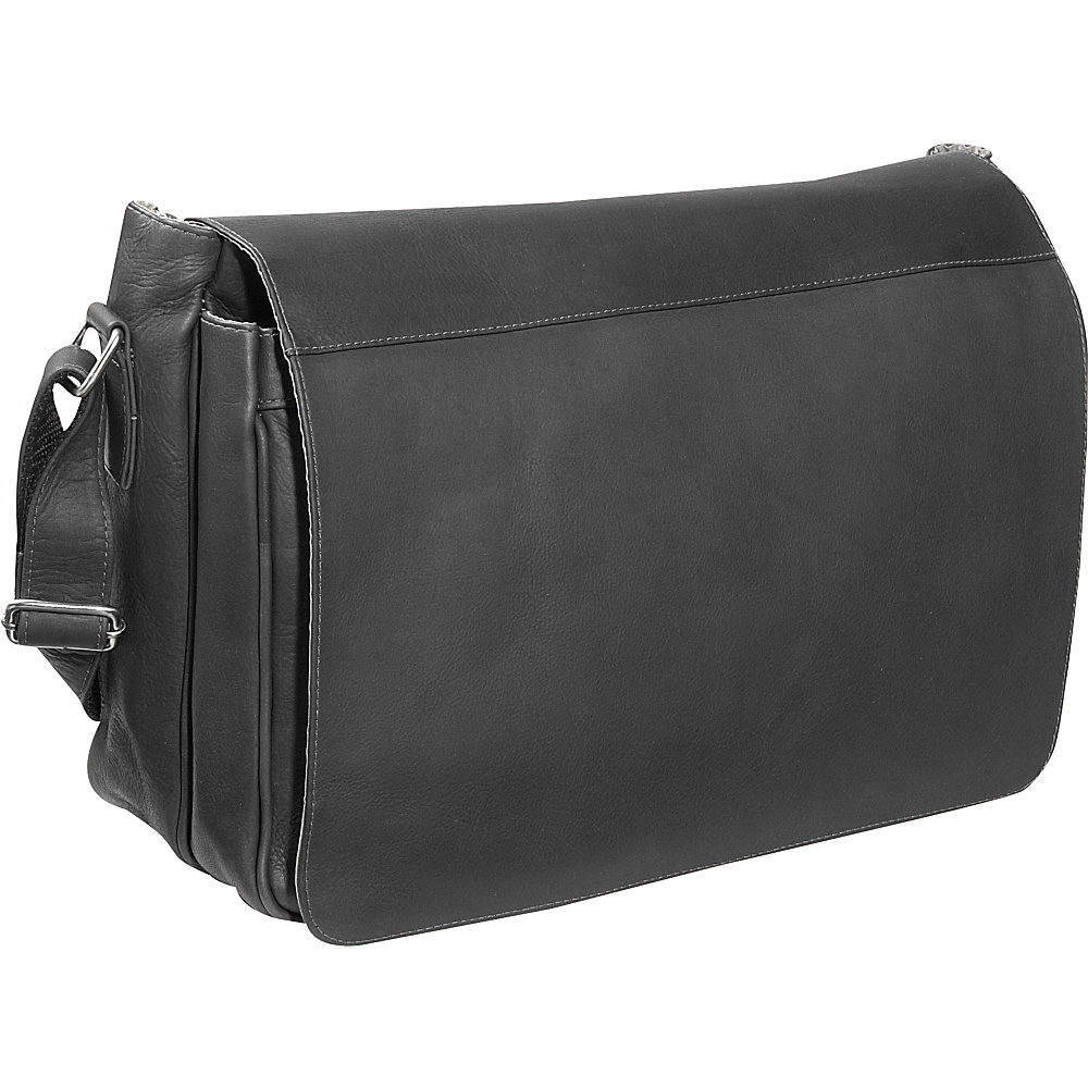 Piel Traditional Flap Brief Messenger - Black - Work Bags & Briefcases, Messenger Bags