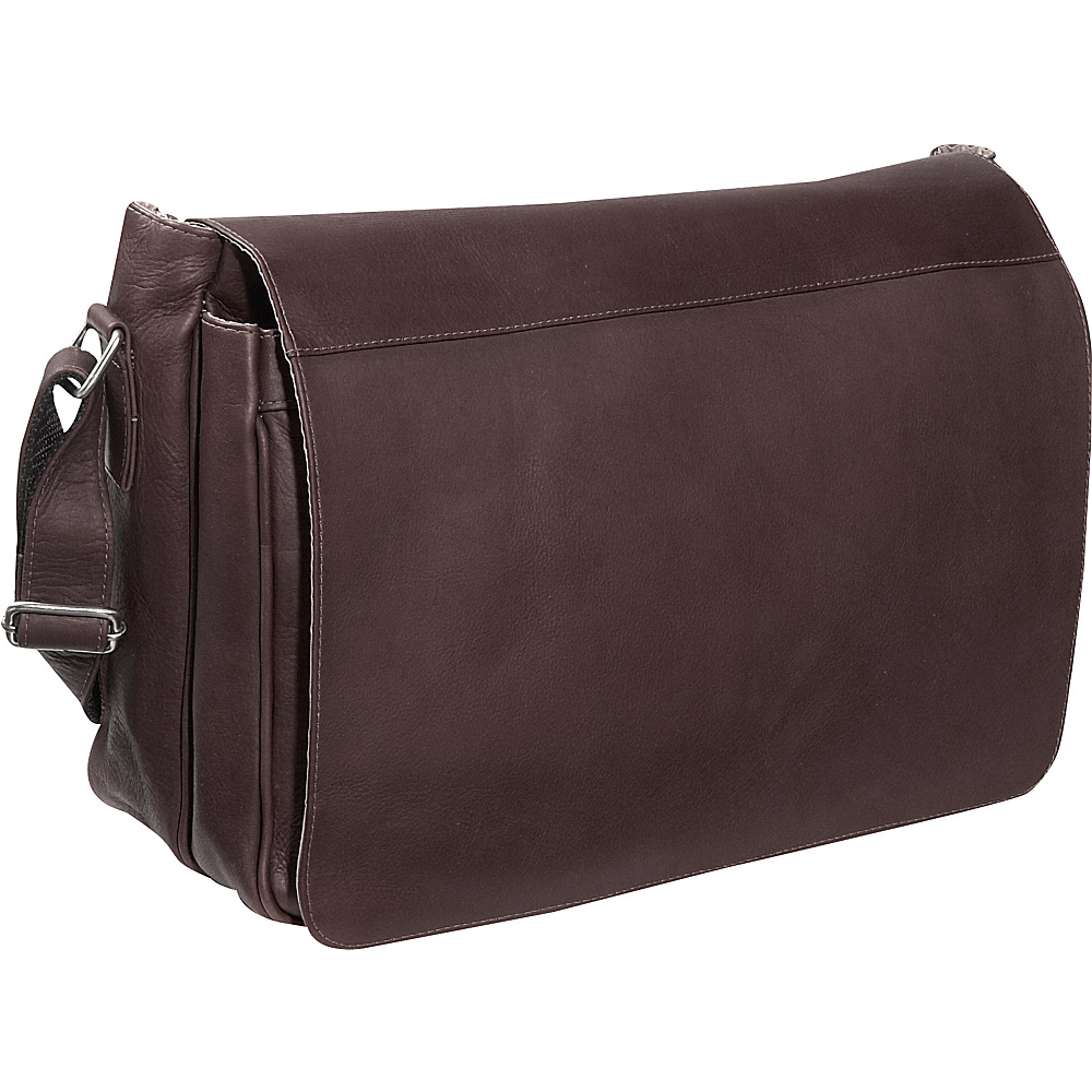 Piel Traditional Flap Brief Messenger - Chocolate - Work Bags & Briefcases, Messenger Bags