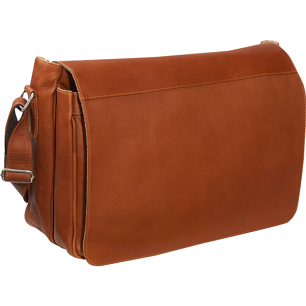 Piel Traditional Flap Brief Messenger - Saddle - Work Bags & Briefcases, Messenger Bags