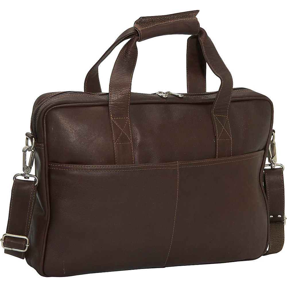 Piel Top Zip Portfolio - Chocolate - Work Bags & Briefcases, Non-Wheeled Business Cases