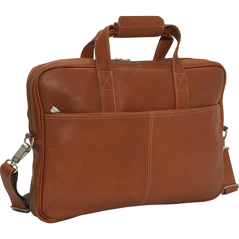Piel Top Zip Portfolio - Saddle - Work Bags & Briefcases, Non-Wheeled Business Cases