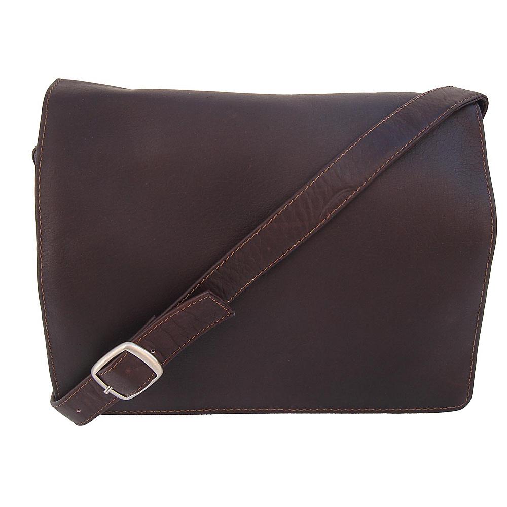 Piel Small Handbag with Organizer - Chocolate - Handbags, Leather Handbags