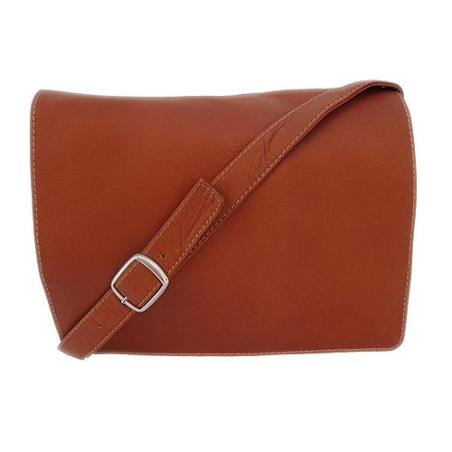 Piel Small Handbag with Organizer - Saddle